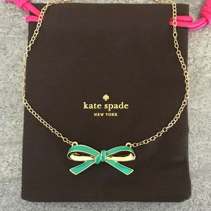 "[Kate Spade] Teal Bow necklace ""Finishing Touch"""